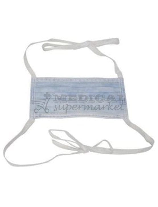 Masti chirurgicale cu legaturi, 3 straturi, 3 pliuri, Masca de unica folosinta din material netesut (polipropilena), cu 3 straturi filtrante, 3 pliuri si insertie metalica