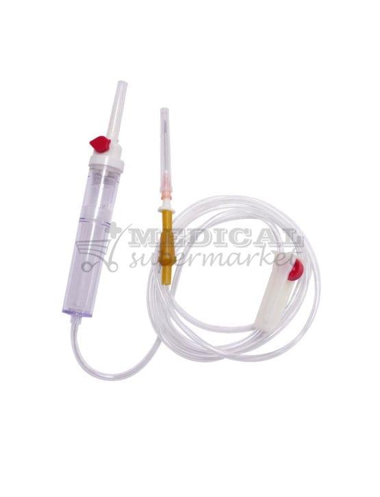 Trusa de transfuzie cu ac de plastic, Trusa de transfuzie cu ac metalic, transfuzor (set stransfuzie) cu ac de plastic