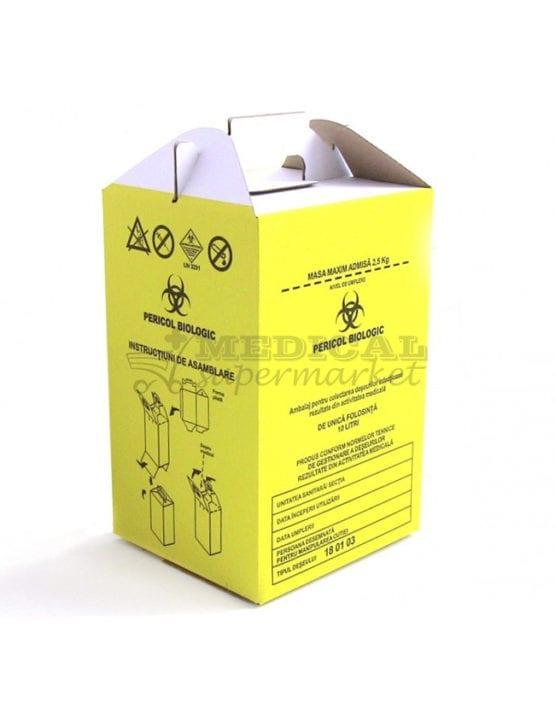 """Cutie carton 10L pentru colectare deseuri infectioase, Cutie carton 15L pentru colectare deseuri infectioase, cutie de carton de 10L prevazuta cu sac galben cu inscriptia """"Pericol Biologic"""" pentru deseuri infectioase"""