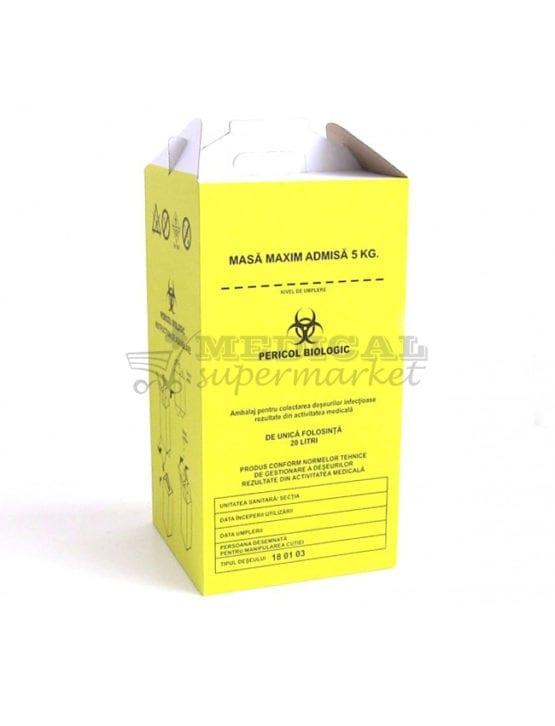 """Cutie carton 20L pentru colectare deseuri infectioase, Cutie carton 20L pentru colectare deseuri anatomo-patologice, cutie de carton de 20L prevazuta cu sac galben cu inscriptia """"Pericol Biologic"""" pentru deseuri infectioase si anatomo-patologice"""