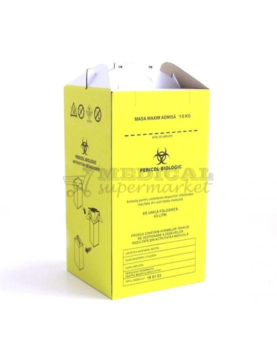 Cutie carton 40L pentru colectare deseuri infectioase , Cutie carton 40L pentru colectare deseuri anatomo-patologice