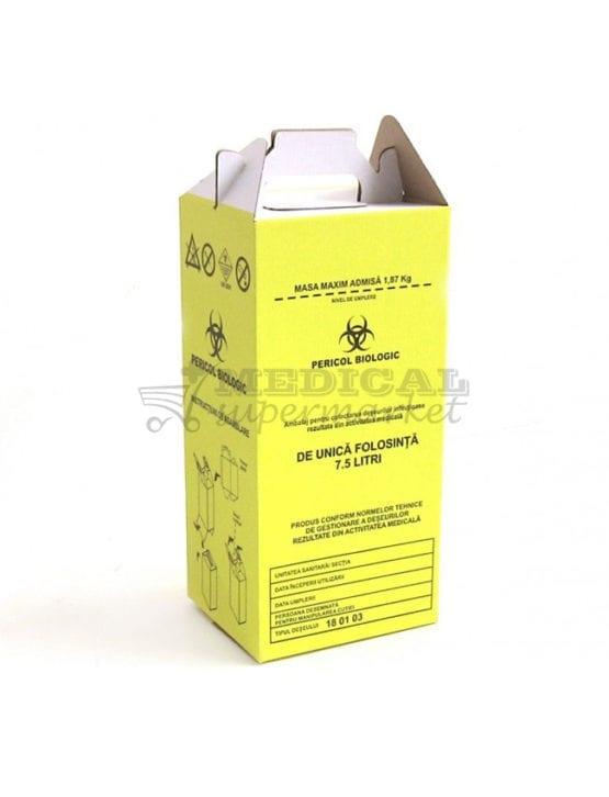 """Cutie carton 7,5L pentru colectare deseuri infectioase, cutie de carton de 7,5L prevazuta cu sac galben cu inscriptia """"Pericol Biologic"""" pentru deseuri infectioase"""