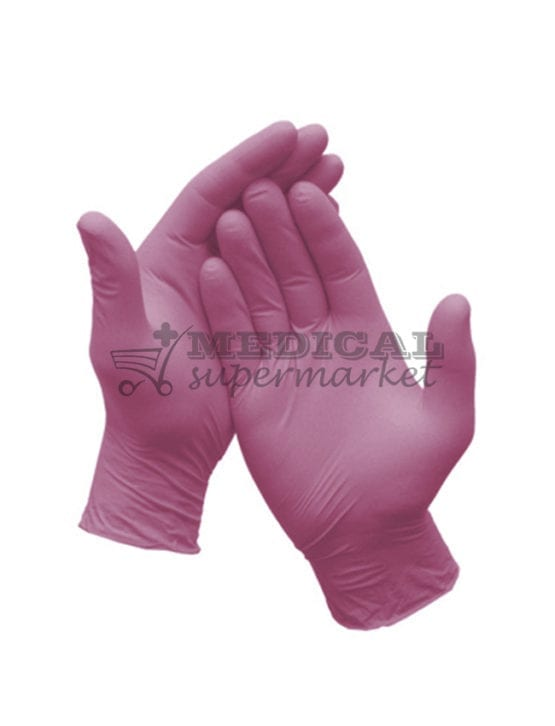 Manusi nitril nepudrate Demotek manusi examinare nitril culoare roz marca demotek