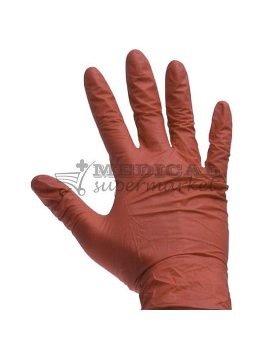Manusi nitril nepudrate Demotek manusi examinare nitril culoare rosie marca demotek