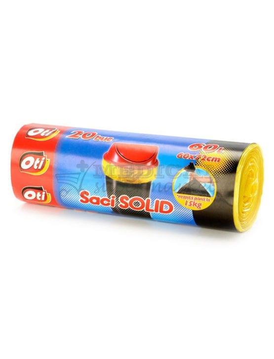 Saci menajeri 60L, OTI Solid, culoare galbena, 20 bucati/rola