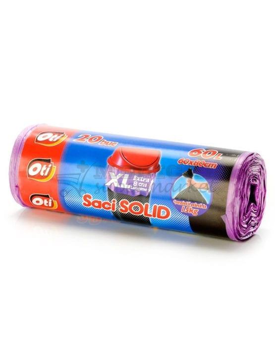 Saci menajeri 60L XL, OTI Solid, culoare galbena, 20 bucati/rola