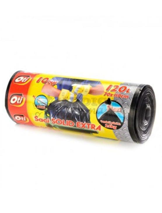 Saci menajeri 120L OTI Solid Extra culoare negra, 10 bucati/rola