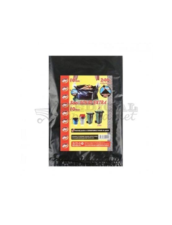 Saci menajeri 240L OTI Solid Extra culoare negra, 10 bucati/pachet